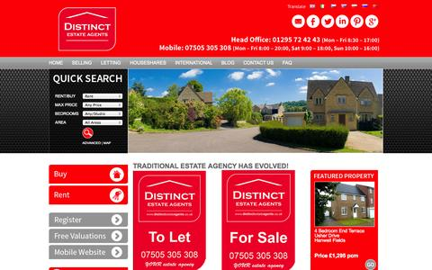 Screenshot of Home Page distinctestateagents.co.uk - Your Local Online Estate and Letting Agent - Distinct Estate Agents - captured Jan. 23, 2015