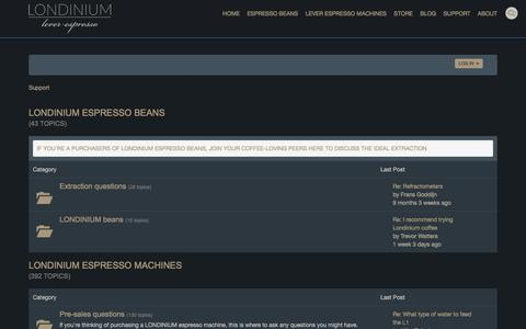 Screenshot of Support Page londiniumespresso.com - Get help with your LONDINIUM lever espresso machine - LONDINIUM forum - captured Nov. 13, 2016