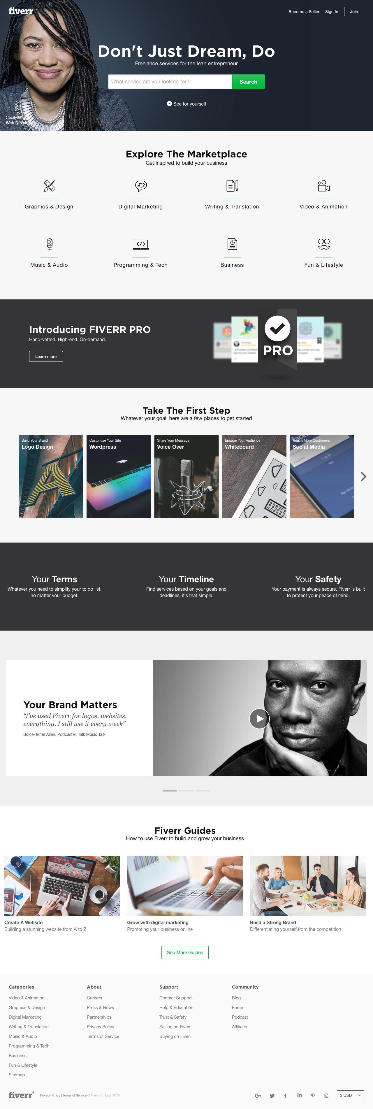 Screenshot of fiverr.com - Fiverr - Freelance Services Marketplace for The Lean Entrepreneur - captured Jan. 12, 2018