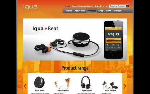 Screenshot of Products Page iqua.com - Iqua Products   Iqua Headsets   Iqua   Bluetooth accessories & Bluetooth headsets - captured Sept. 16, 2014