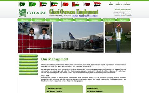Screenshot of Team Page ghazioverseas.com - Ghazi Overseas - captured Oct. 2, 2014