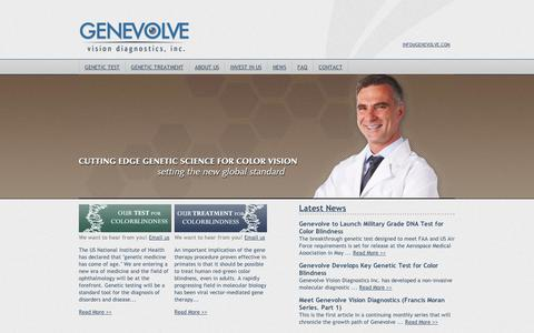 Screenshot of Home Page genevolve.com - Genevolve Vision Diagnostics – Color vision testing, genetic test, colour, colorblind, DNA, color vision cure, colorvisiontesting, ophthalmologist, optometrist - captured Sept. 11, 2014