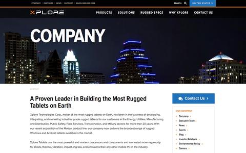 Screenshot of About Page xploretech.com - Company | Xplore Technologies - captured Nov. 30, 2016