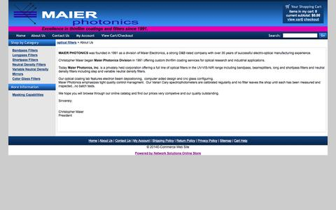 Screenshot of About Page maierphotonics.com - E-Commerce Web Site - About Us - captured Oct. 4, 2014