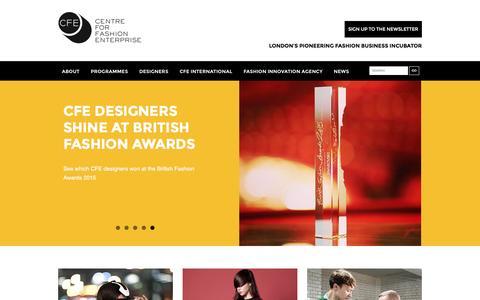 Screenshot of Home Page fashion-enterprise.com - Centre for Fashion Enterprise Centre for Fashion Enterprise - captured Jan. 26, 2016