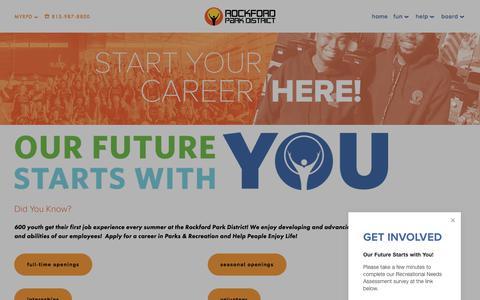Screenshot of Jobs Page rockfordparkdistrict.org - Careers — Rockford Park District - captured April 19, 2018