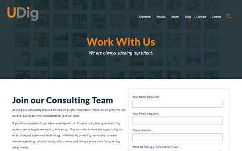 Screenshot of Jobs Page udig.com - Careers | Technology Consultant | Technology Enthusiast - captured July 5, 2018