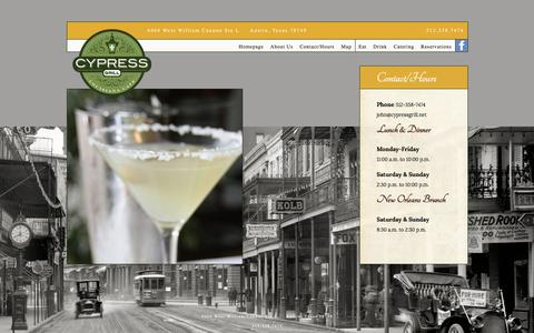Screenshot of Hours Page cypressgrill.net - Contact/Hours   Cypress Grill - captured June 16, 2016