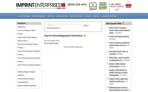 Screenshot of FAQ Page imprint-e.com - Imprint Knowledgebase -  powered by phpMyFAQ 2.7.1 - captured Oct. 4, 2014