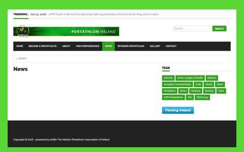 Screenshot of Press Page pentathlon.ie - News - - captured Nov. 1, 2016
