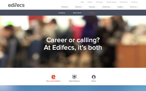 Screenshot of Jobs Page edifecs.com - Join to innovate Health Information Technology  HIX  Enrollment - captured July 19, 2015