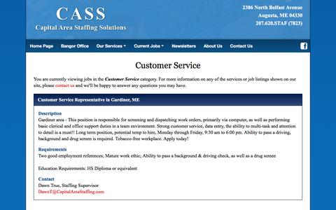 Screenshot of Support Page capitalareastaffing.com - Augusta Maine Staffing Agency | Capital Area Staffing Solutions, Inc. - CASS | Temp Employment, Temp To Hire Services, Job Search and Job Placement | Serving the Augusta and Bangor, Maine Areas - captured Oct. 19, 2016
