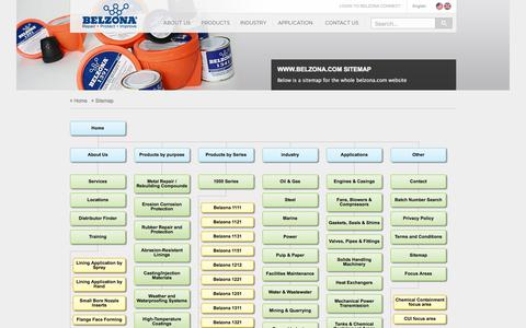 Screenshot of Site Map Page belzona.com - www.belzona.com Sitemap showing all available pages - captured Oct. 10, 2017