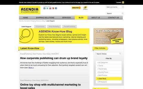 Screenshot of Case Studies Page asendia.com - Latest blogpost - Asendia - captured July 26, 2016