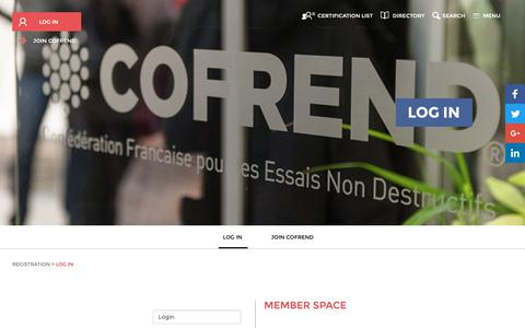 Screenshot of Login Page cofrend.com - cofrend - Cofrend > Portail adhésions - captured Oct. 22, 2018