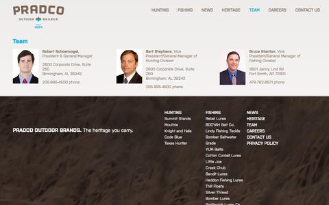 Screenshot of Team Page pradcooutdoorbrands.com - Team - Pradco Outdoor Brands - captured July 21, 2018