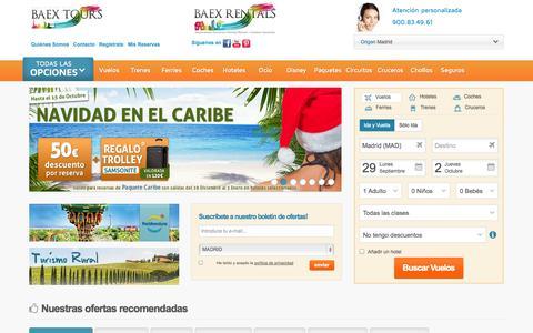 Screenshot of FAQ Page baextours.com - Ofertas de viajes. vuelos low cost, hoteles, cruceros. - captured Sept. 30, 2014