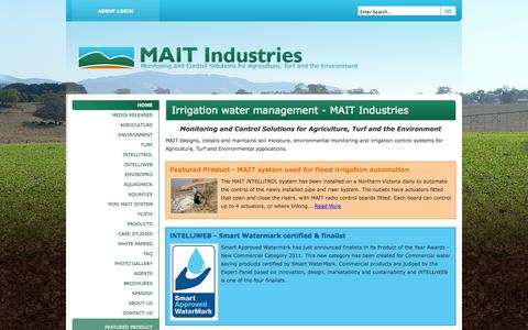 Screenshot of Home Page mait.com.au - Irrigation water management environmental monitoring - captured Oct. 3, 2014