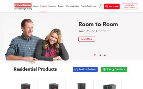 Screenshot of Products Page goodmanmfg.com - Check Out Goodman Manufacturing's Product Range - captured Jan. 16, 2018
