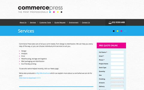 Screenshot of Services Page commercepress.com.au - Services | Commerce Press Commerce Press - captured Sept. 30, 2014