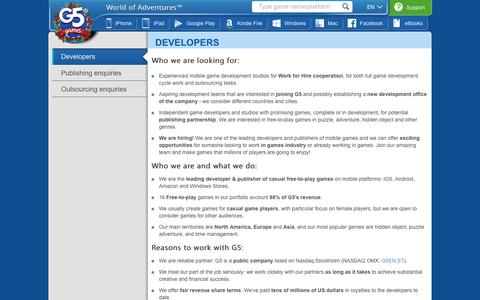 Screenshot of Developers Page g5e.com - G5 Games - Developers - captured Dec. 13, 2018