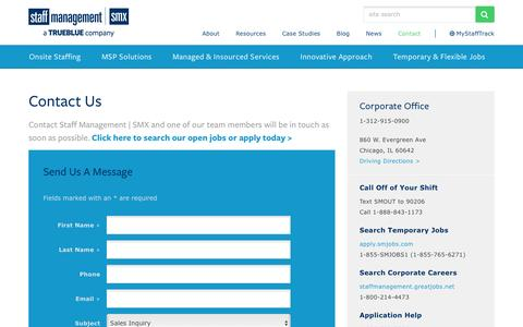 Screenshot of Contact Page staffmanagement.com - Staff Management | Contact Staff Management | SMX - captured Feb. 22, 2016