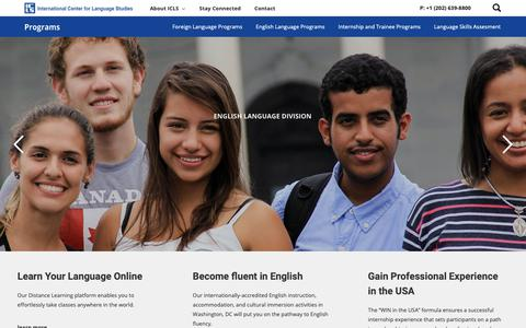 Screenshot of Home Page icls.edu - The International Center for Language Studies   Washington DC - captured March 19, 2019