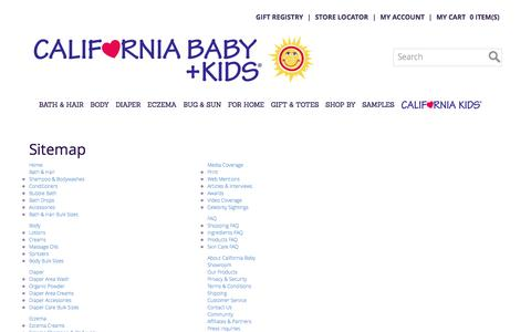 Screenshot of Site Map Page californiababy.com - California Baby - captured July 10, 2016