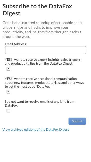 Screenshot of Landing Page  datafox.co -