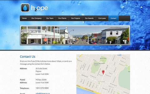 Screenshot of Contact Page h2ope.co.nz - Contact - h2ope - Water Process Engineering Services - captured Sept. 30, 2014