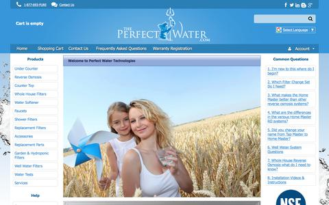 Screenshot of Home Page theperfectwater.com - Perfect Water Technologies - captured July 8, 2018