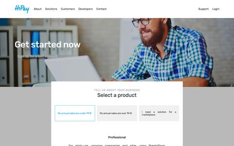 Screenshot of Signup Page hipay.com - Get started now - HiPay - captured Sept. 22, 2018