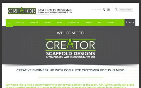 Screenshot of Home Page creator-scaffolddesigns.co.uk - HOME | Creator Scaffold DesignsCreator Scaffold Designs - captured Oct. 3, 2014