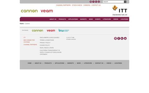 Screenshot of Jobs Page ittcannon.com - Careers | ITT Cannon - captured July 14, 2019