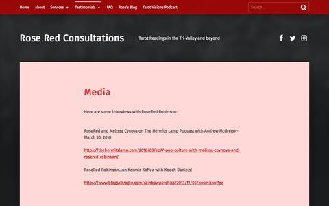 Screenshot of Press Page roseredtarot.com - Media – Rose Red Consultations - captured Aug. 26, 2019