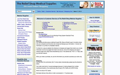 Screenshot of Privacy Page Support Page thereliefshop.com - The Relief Shop Medical Supplies Customer Service Information - captured Oct. 25, 2014