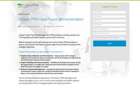 Screenshot of Landing Page uplandsoftware.com - Eclipse PPM Webinar: Product Demonstration - captured April 20, 2018