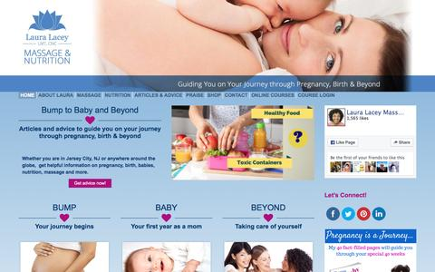 Screenshot of Home Page lauralacey.com - Laura Lacey Massage and Nutrition | Guiding you on your journey through pregnancy, birth and beyond - captured Jan. 26, 2016