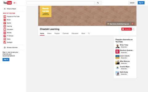 Screenshot of YouTube Page youtube.com - Cheetah Learning  - YouTube - captured Oct. 28, 2014