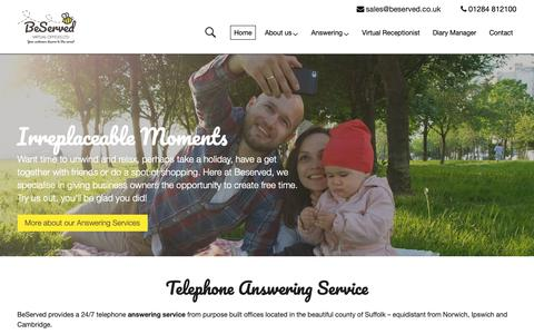 Screenshot of Home Page beserved.co.uk - Telephone Answering Service | Never miss a call with a 24 hr Answering Service - captured Oct. 5, 2018