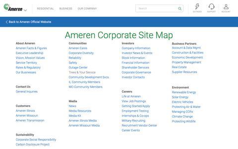 Screenshot of Site Map Page ameren.com - Site Map - Ameren.com - captured Feb. 19, 2019