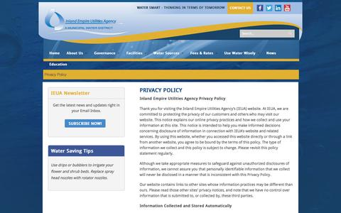 Screenshot of Privacy Page ieua.org - Privacy Policy | Inland Empire Utilities Agency - captured Nov. 26, 2016