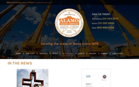 Screenshot of Press Page alamocrane.com - Alamo Crane Services News Blog - captured Oct. 3, 2018