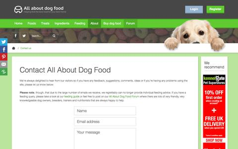 Screenshot of Contact Page allaboutdogfood.co.uk - Contact All About Dog Food - captured Aug. 23, 2019