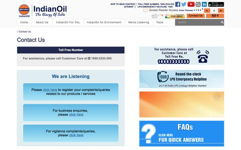Screenshot of Contact Page iocl.com - Contacts : Oil and Gas Companies : Engine Oil - captured Aug. 18, 2019