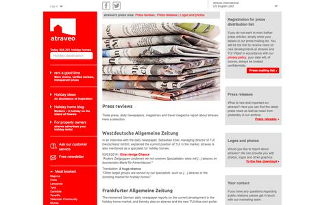 Screenshot of Press Page atraveo.com - Press reviews: That is what trade press is reporting about atraveo - captured Oct. 4, 2018