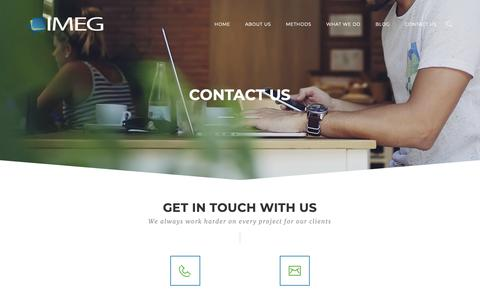 Screenshot of Contact Page imegonline.com - Contact Us - IMEG - The Trusted Agency for the Tourism & Hospitality Industry - captured Nov. 22, 2018