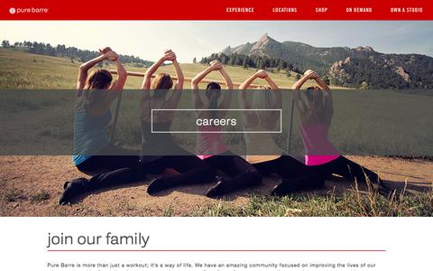 Screenshot of Jobs Page purebarre.com - Careers | Pure Barre - captured Sept. 13, 2018