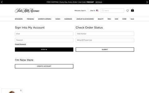 Screenshot of Login Page saksfifthavenue.com - Account - Saks - captured Aug. 18, 2019