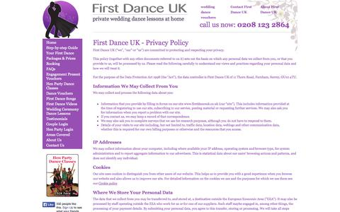 Screenshot of Privacy Page firstdanceuk.co.uk - First Dance UK Privacy Policy - captured Sept. 30, 2014